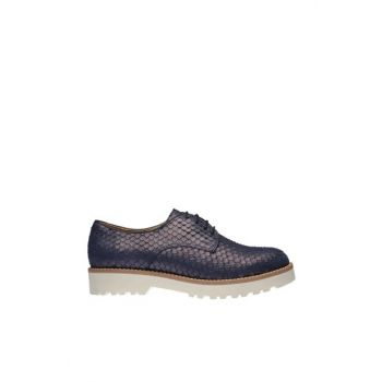 Genuine Leather Navy Blue Women Shoes 120130002517
