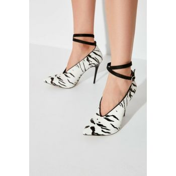 Black Zebra Patterned Women Heels Shoes TAKAW20TO0020