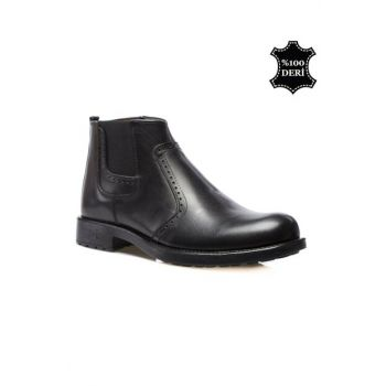 Genuine Leather Black Men Boots PRA-147242-487486