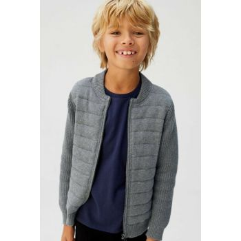 Medium Flecked Gray Boy Knitted Cardigan 53095740
