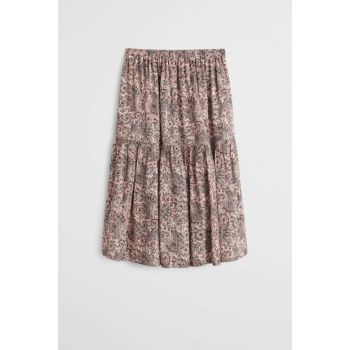 Pink Girls Patterned Midi Skirt 53095760