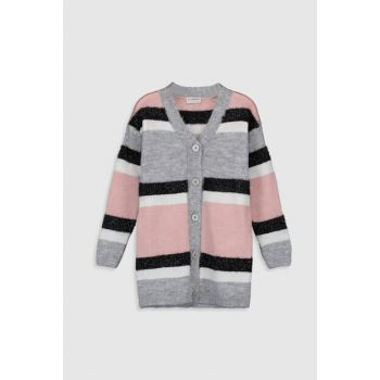 Girls' Gray Striped Lfy Cardigan 9WH203Z4