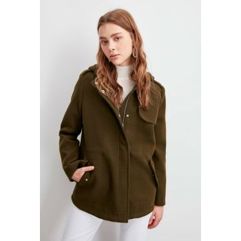 Khaki Hooded Zipper Cover Stamp Coat TWOAW20KB0257