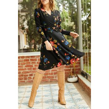 Women's Black Floral Printed Double Breasted Dress 9KXK6-42888-02