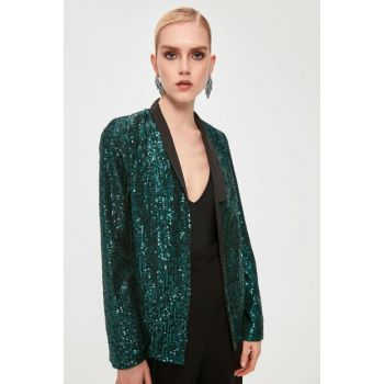 Emerald Green Belt Detail Sequin Jacket TPRAW20CE0291