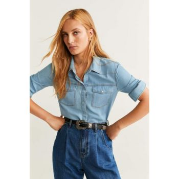 Women's Dull Blue Breasted Cotton Shirt 51025024