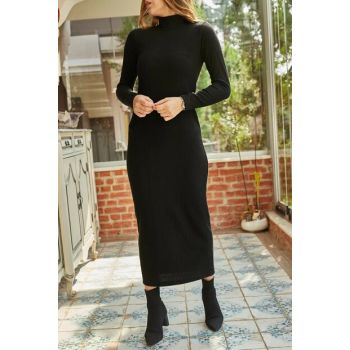 Women Black Turtleneck Sweater Dress 9YXK6-41906-02
