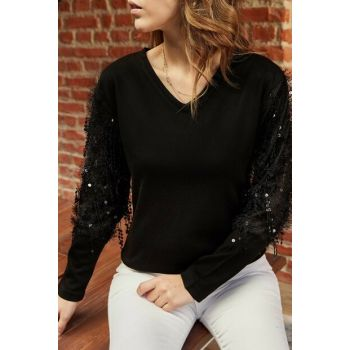 Women's Black Sleeve Accessories Blouse 9YXK2-41928-02
