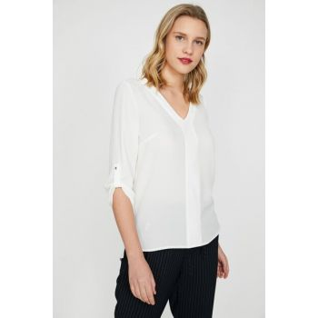 Women's Ecru V Neck Blouse 9YAK68711PW