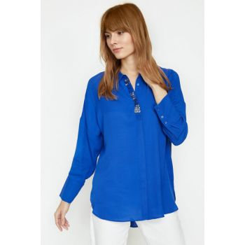 Women's Blue Sequins Detailed Blouse 9KAK68149PW