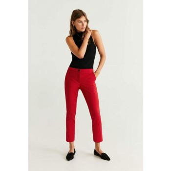 Women Red Straight Cut Cotton Trousers 51033029