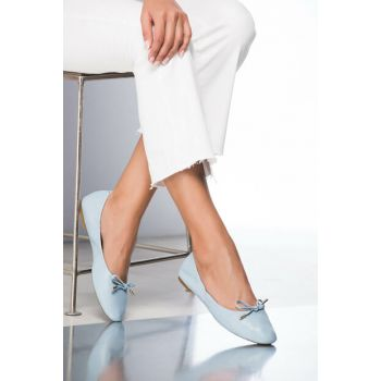 Genuine Leather Light Blue Women's Flats 120130002133