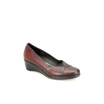 Genuine Leather Burgundy Women's Shoes 82.100142CZ