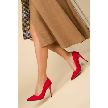 Red Suede Women's Classic Heeled Shoes 14315