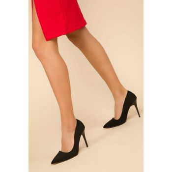 Black Suede Women's Classic Heeled Shoes 14315