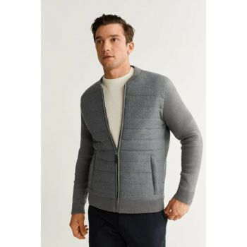 Men's Medium Flecked Gray Contrast Quilted Bomber Jacket 53085715