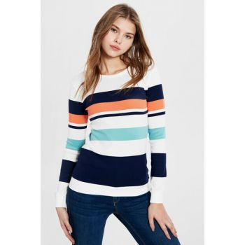 Women Navy Striped T-shirt 0S9461Z8