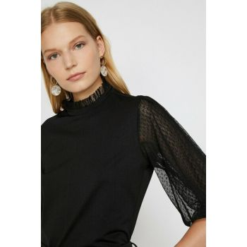 Women's Black Tulle Detail T-Shirt 0KAK16599IK