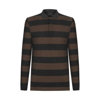 Men's Tobacco Polo Neck Long Sleeve T-Shirt 360584
