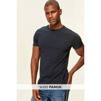 Navy Blue Print Men's T-Shirt - Cotton Short Sleeve Crew Neck T-shirt TMNSS19BO0001
