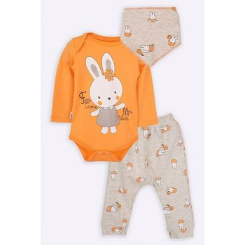 Rabbit Printed Three Piece Baby Girl Layette Suit AGPSUYZ9
