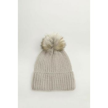 Women's Light Flecked Gray Fur Pompom Beanie 53003758