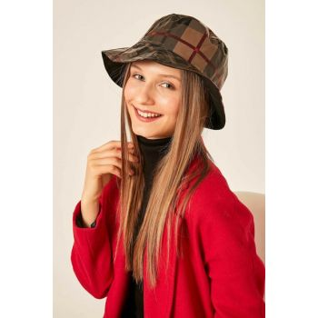 Women's 12815 Plaid Pattern Beige Bucket Hat SPK-2838