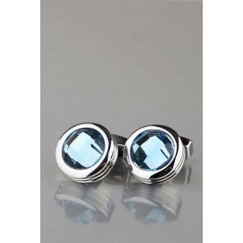 Men's Silver Color Blue Cubic Zirconia Round Cufflinks KD900 KRVT8690002223181