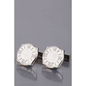 Men's Silver Color Roman Numeral Round Cufflink KD1007 KRVT8690002224487