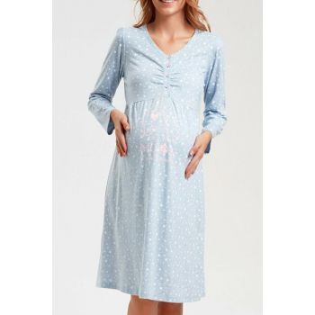 Women's Blue Printed Little Star Pregnant Lohusa Nightgown SH20490613L956
