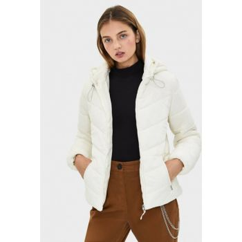 Women's Cream Hooded Inflatable Coats 06210644