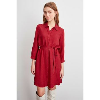 Burgundy Belted Dress TWOAW20EL2251