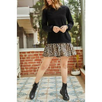 Women's Black Skirt Leopard Print Sweat Dress 9KXK6-42886-02