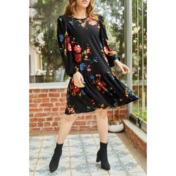 Women's Black Skirt Ruffle Sleeve Elastic Patterned Dress 9KXK6-42882-02