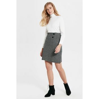 Women's Black Jacquard Skirt 9WO490Z8