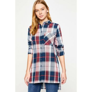 Women's Burgundy Plaid Tunic Blouse 8KAK61446OW