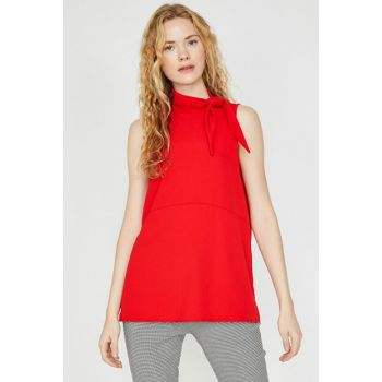Women's Red Collar Detailed Blouse 9KAK68060PW