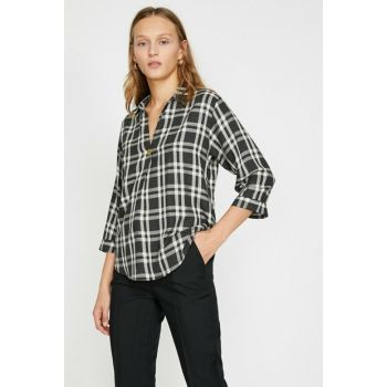 Women's Gray Plaid Blouse 0KAK68292PW