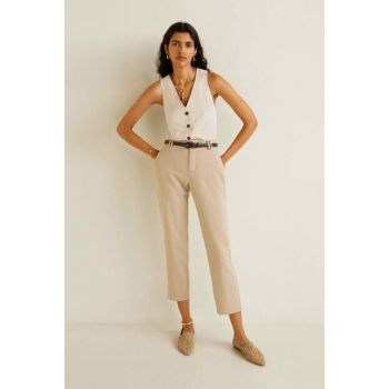 Women Medium Brown Belt Straight Trousers 51060422