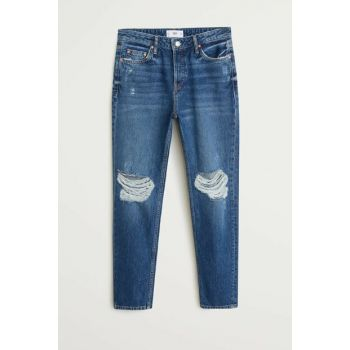 Women's Dark Blue Ripped Relaxed Jean Pants 53020686