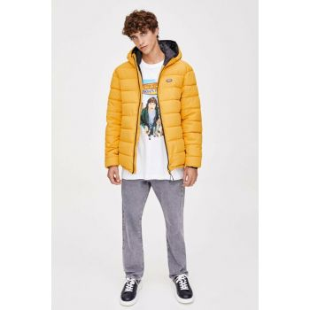Men's Mustard Color Colored Thin Inflatable Coats 09716529