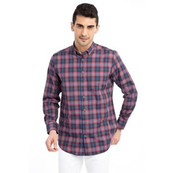 Men's Burgundy Plaid Design Long Sleeve Shirt - 67293