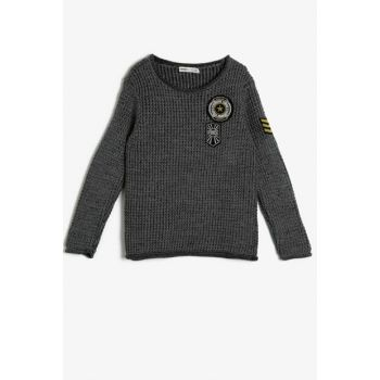 Gray Boy Embroidered Sweater 0KKB96270HT