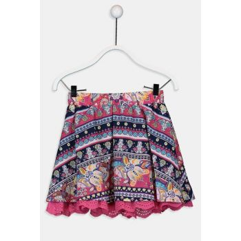 Girl Kids Navy Blue Printed Lsj Skirt 9W4911Z4