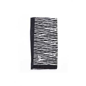 Patterned Twill Scarf-black-ecru 152.00.30.02.88.02.01-AKEL 001-723