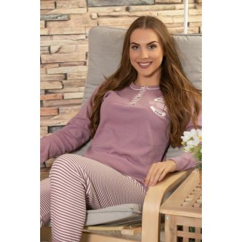 Women's Lilac Cotton Welsoft Embroidered Long Sleeve Interlock Sleepwear Suit 22026