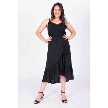Women's Black Ruffled Long Skirt 34837