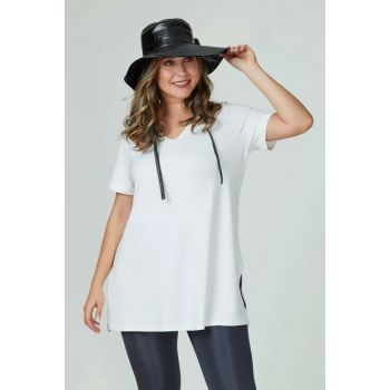 Women's Ecru Basic Neck T-Shirt 101010400083