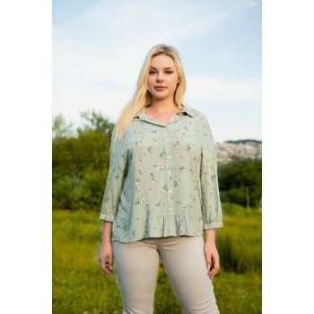 Women's Green Cotton Floral Blouse 1073
