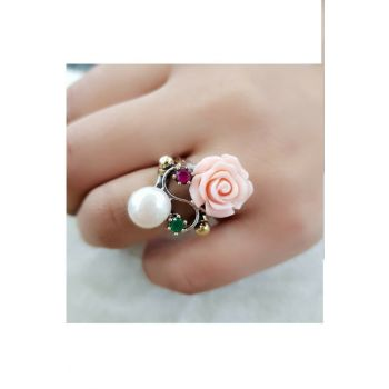 Women's White Spring Rose Ring SGTL7541